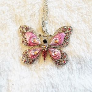 Pink enamel and rhinestone butterfly necklace new
